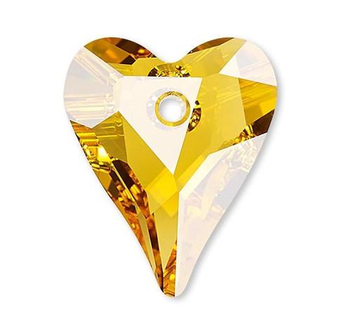 1 Swarovski Sunflower Yellow Faceted 17x14mm Wild Heart Crystal Pendants (6240) *