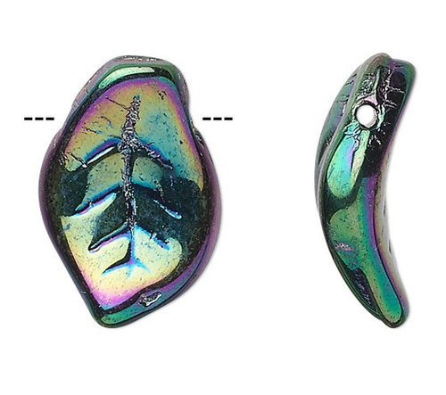 1 Strand Czech Pressed Glass Iris Green 14x9mm Top Drilled Leaf Beads