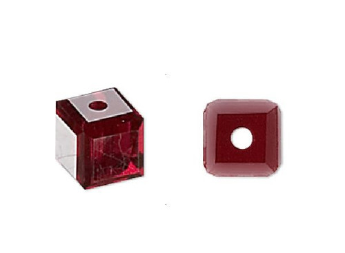 12 Siam Red Swarovski 4x4mm Faceted Cube Crystal Beads (5601)