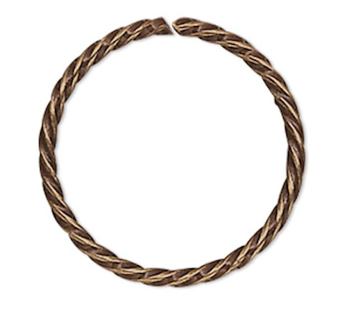 100 Antiqued Gold Plated Brass 10mm Twisted Round 21 Gauge Jump Rings with 8.4mm ID