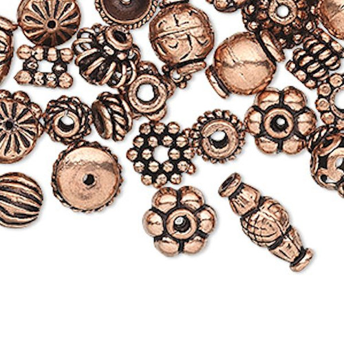 100 Antiqued Copper 4x1mm-11x5mm Bead & Bead Cap Mix  with 0.7-5.4mm Hole