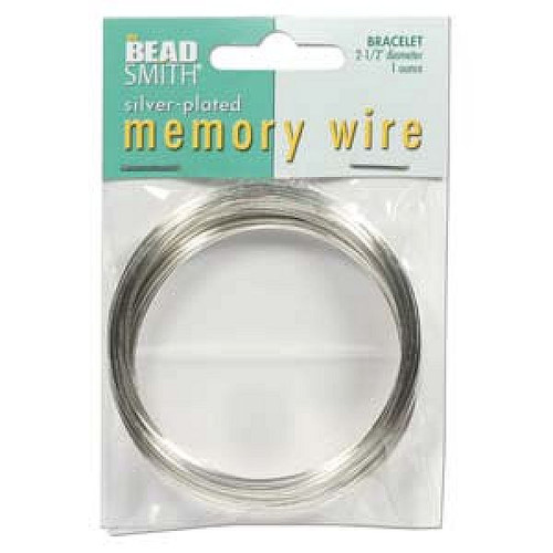 """1 Ounce (70 Loops) Silver Plated 2 1/2"""" Round Memory Wire Bracelets"""