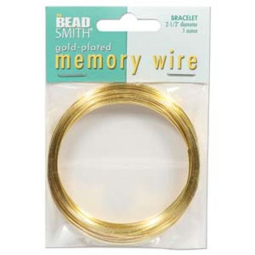 """1 Ounce (70 Loops) Gold Plated 2 1/2"""" Round Memory Wire Bracelets"""