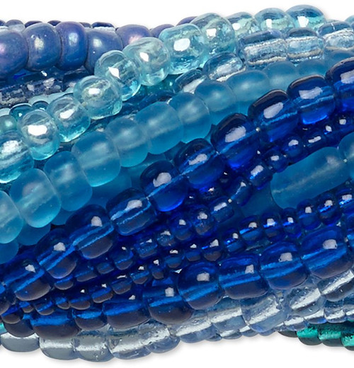 """Twenty 14"""" Strands Turquoise Blue Glass Seed Bead Mix Approximately 3,300-3,600 Beads"""