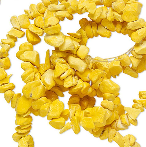 1 Strand YELLOW Magnesite Dyed & Stabilized Small to Large Chip Beads