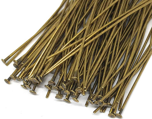 144 Antiqued Brass Plated 21 Gauge 3 Inches Long Headpins