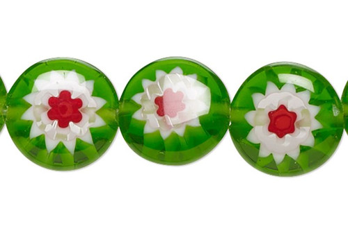1 Strand Red, Green & White Millefiori Glass 8mm Puffed Flat Coin Beads