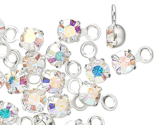 48 Silver Rhodium Plated PP24 Swarovski ABCrystal Clear 3-3.2mm Round Charms *