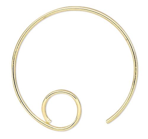 10 Gold Plated Brass 16mm 22 Gauge Hoop Round with Loop Earwire Earring