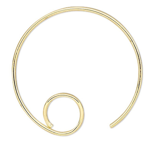 10 Gold Plated Brass 16mm 22 Gauge Hoop Round with Loop Earwire Earring
