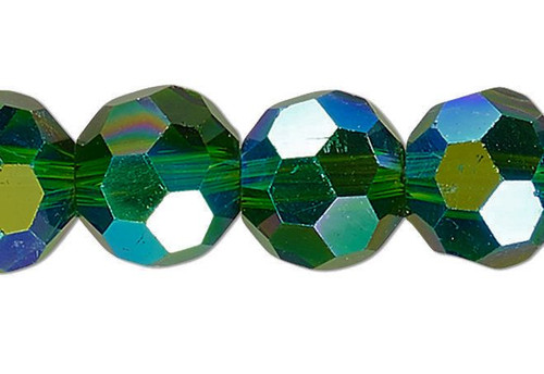 1 Strand AB Emerald Green 32 Facets Round 8mm Crystal Glass Beads