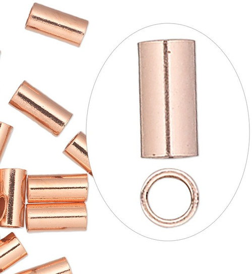 10 Copper Seamless 6x3mm Tube Crimp Beads with 2.2mm ID