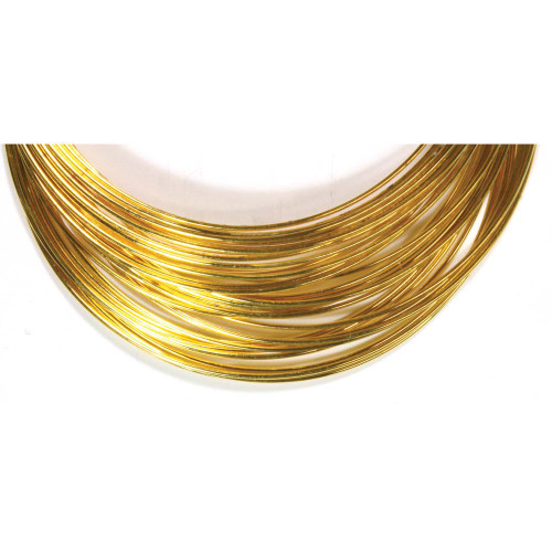 """1 Ounce (70 Loops) Gold Plated Steel 1 3/4"""" Round Memory Wire Bracelets"""