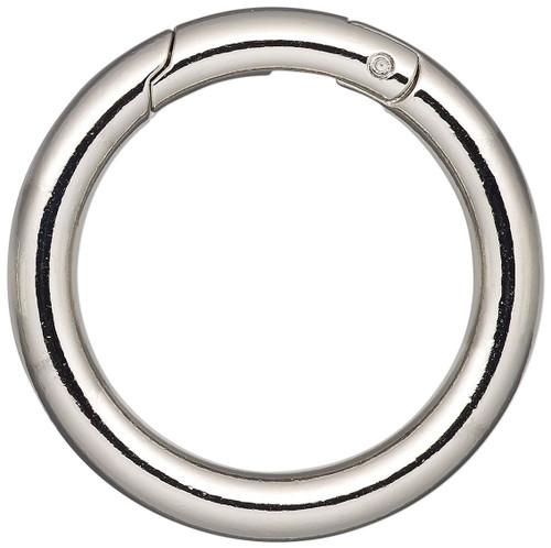 2 Large Imitation Rhodium Plated Steel 44.5mm Round Self Closing Hinged Bail Clasps