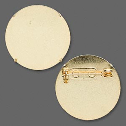 10 Gold Plated Steel 26mm Pin Back for 25mm Perforated Beading Discs `