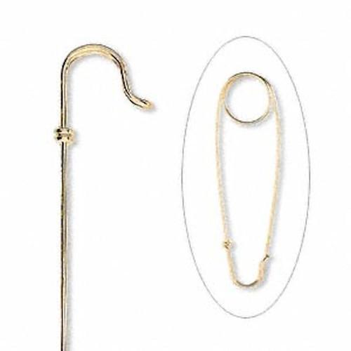 10 Gold Plated Brass Unbent Brooch Kilt Pins  Just Add Beads `