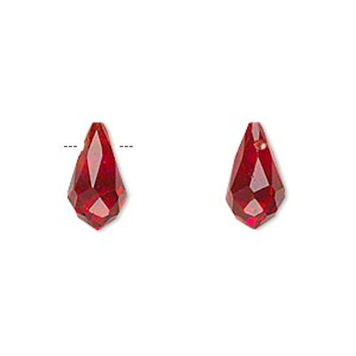 6 Faceted Glass Crystal RED 13x7mm Top Drilled Teardrop Beads *