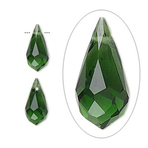 6 Faceted Glass Crystal GREEN 13x7mm Top Drilled Teardrop Beads *