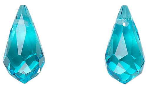 6 Faceted Glass Crystal AQUA 13x7mm Top Drilled Teardrop Beads *