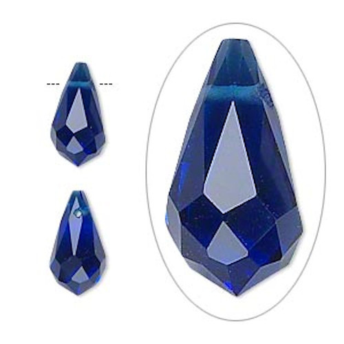 6 Faceted Glass Crystal Cobalt Blue 13x7mm Top Drilled Teardrop Beads *