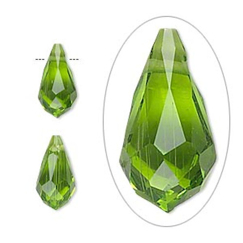 6 Faceted Glass Crystal PERIDOT 13x7mm Top Drilled Teardrop Beads *