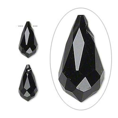 6 Faceted Glass Crystal BLACK 13x7mm Top Drilled Teardrop Beads *