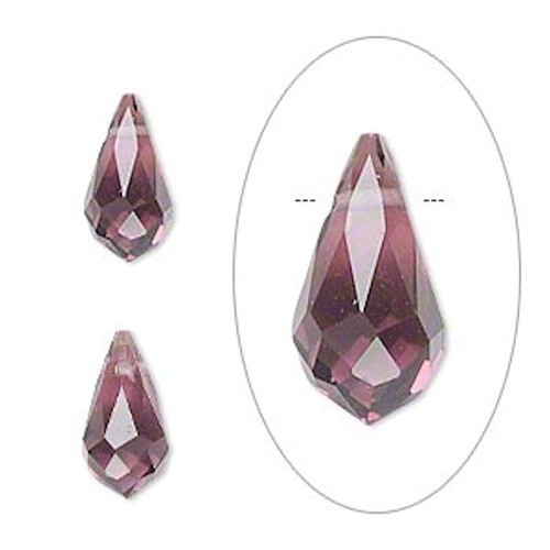 6 Faceted Glass Crystal PURPLE 13x7mm Top Drilled Teardrop Beads *
