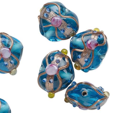 10 Turquoise Wedding Cake Lampwork Glass 16-18mm Puffy Heart Beads *