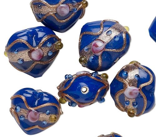 10 Cobalt Blue Wedding Cake Lampwork Glass 16-18mm Puffy Heart Beads *