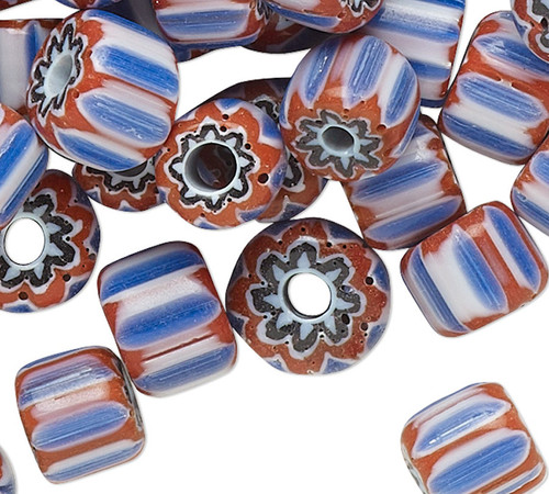 1.5 Grams (90-110) Red White & Blue Patriotic Lampwork Glass 6x5mm-7x5mm Rondelle Beads