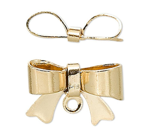 10 Gold Plated Brass 10x7mm Bow Charm Drops with Loop