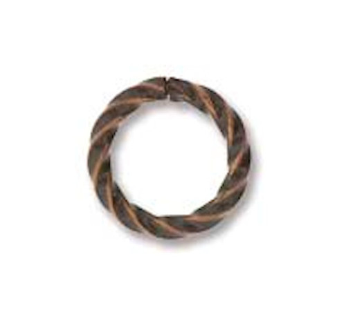 144 Antiqued Copper Plated Brass 8mm Twisted Round 16 Gauge Jump Rings