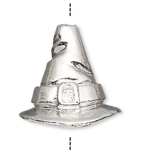 1 Silver Plated Pewter 13x12.5mm Witch's Hat Cone Bead with 7mm ID