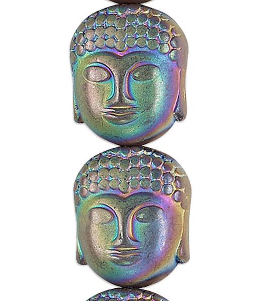 1 Strand Hemalyke Matte Rainbow 3D 10x9mm Buddha Head Beads with 1mm Hole