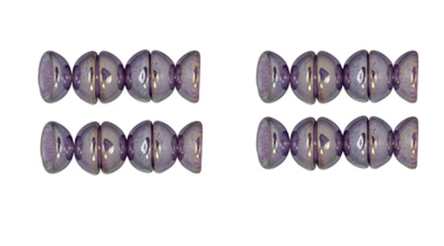 "2.5"" Tube Luster Iris Tanzanite Czech Glass 4x2mm Teacup Dome Shaped  Beads"