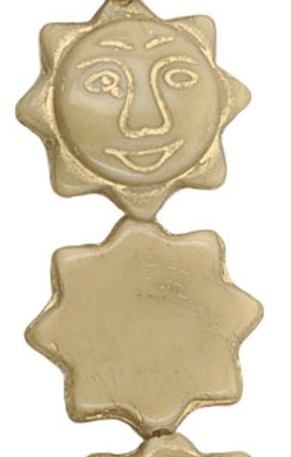 5 Opaque Beige with Gold Inlay Czech Glass 20x6mm Sun Face Beads *