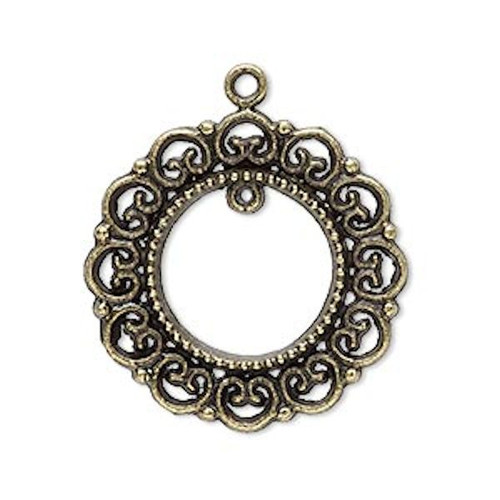 10 Antiqued Brass Plated Pewter 28mm Wreath Charms