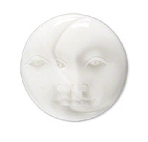 1 White Hand Carved Bone Undrilled Single Sided 21-23mm Moon Face