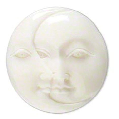 1 White Hand Carved Bone Undrilled Single Sided 29-31mm Moon Face & Cresent Face