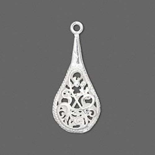 1 Silver Plated Brass 27.5x13.5mm Open Filigree Paddle Drop *