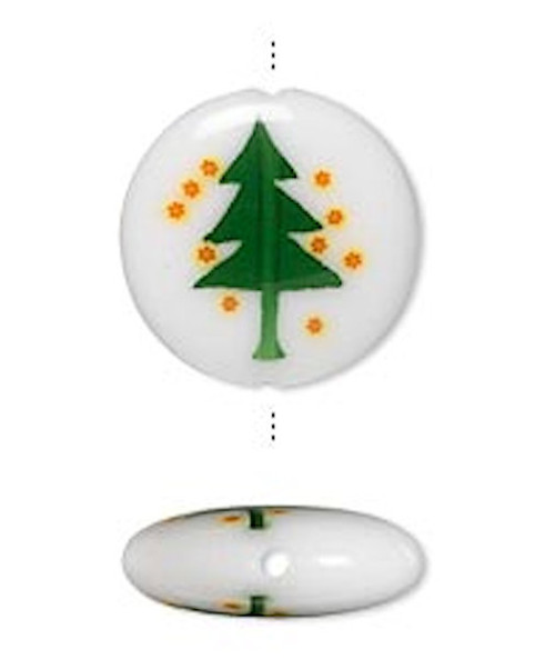 2 Glass 16mm Double Sided Christmas Tree Coin Beads with  0.9-1mm Hole *