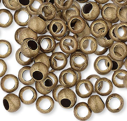 100 Antiqued Gold Plated Brass Smooth Micro 2.5mm Round Spacer Beads with 1.5mm Hole