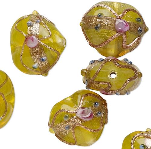 10 Yellow Wedding Cake Lampwork Glass 16-18mm Puffy Heart Beads *