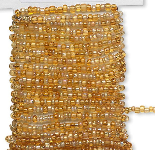 15 Feet Transparent Rainbow GOLDEN Pre-strung Wired Glass Seed Beads *