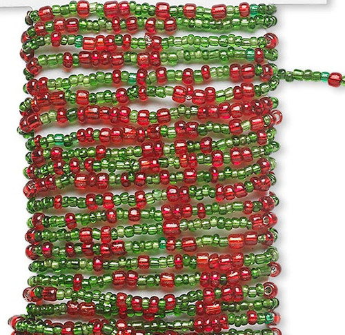 15 Feet Silver Lined Red & Green Pre-Strung Wired Glass Seed Beads *