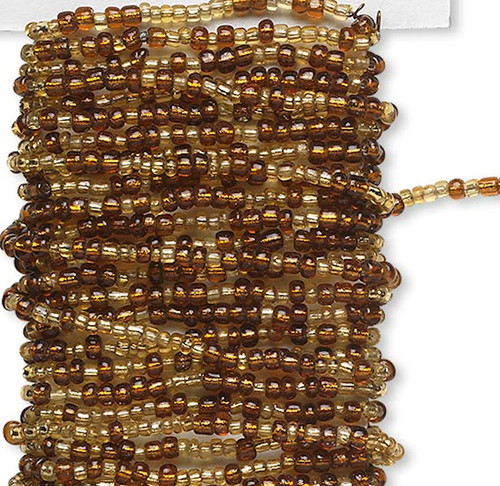 15 Feet Silver Lined Light Gold & Brown Pre-strung Wired Glass Seed Beads *