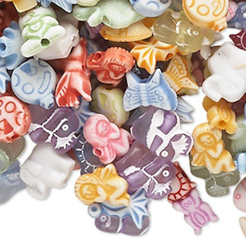 1/4 Pound Multi Acrylic ANIMAL & More ~ 740-860 Beads ~Mixed Shapes & Colors *