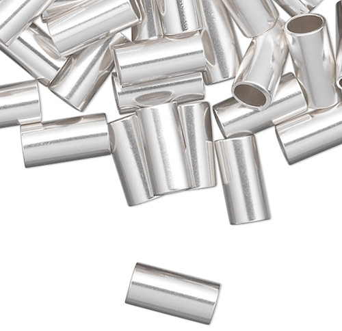 10 Sterling Silver 6x3mm Seamless Cut Tube Crimp Beads with 2.5mm ID