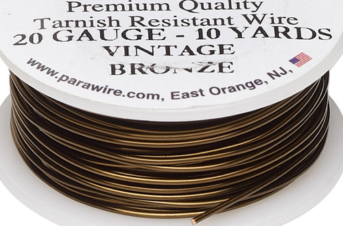 10 Yard Spool Tarnish Resistant Vintage Bronze 20 Gauge Round Wrapping Wire