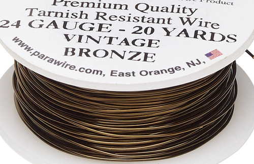 20 Yard Spool Tarnish Resistant Vintage Bronze 24 Gauge Round Wrapping Wire